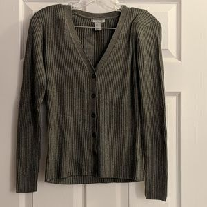 H&M Gray Ribbed Cardigan S